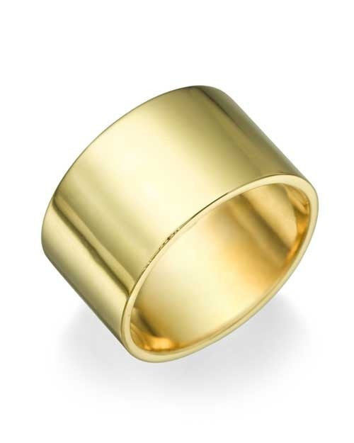 Yellow Gold Wedding Ring - 10.9mm Flat Design - Custom Made