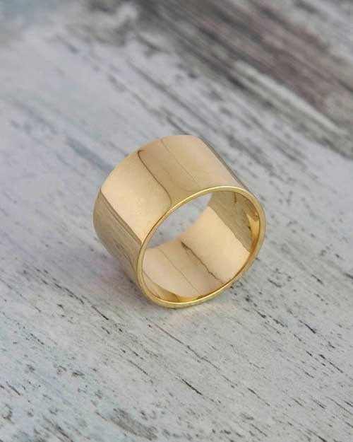 Yellow Gold Wedding Ring - 12.2mm Flat Design - Shiree Odiz