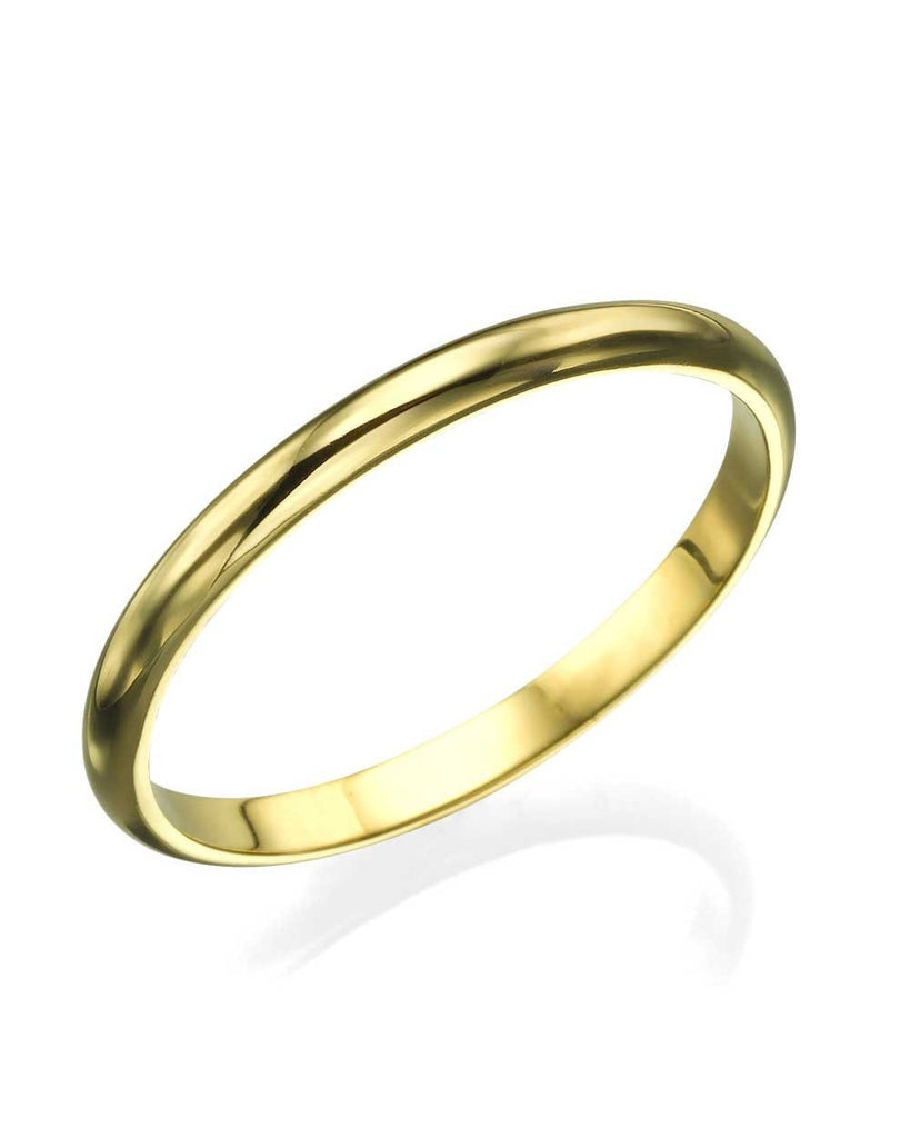 Yellow Gold Wedding Ring - 2mm Rounded Plain Shiny Band - Custom Made