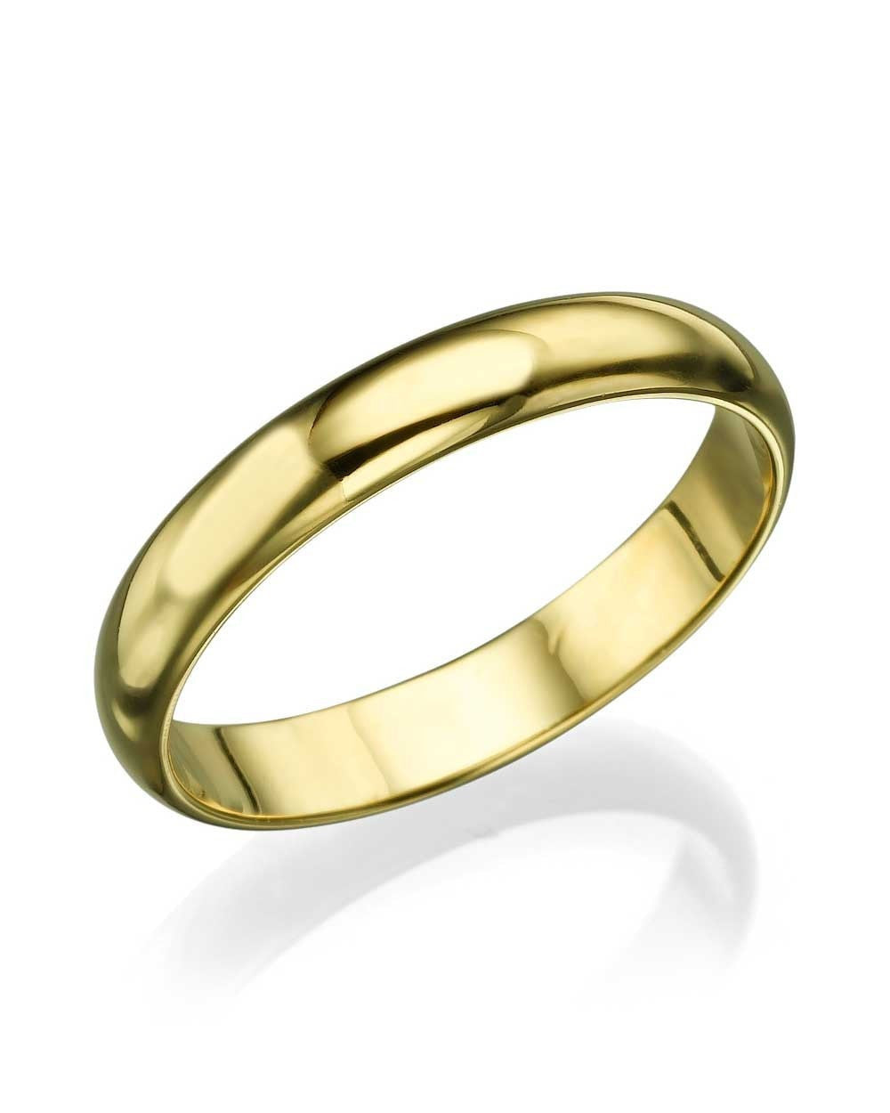 Wedding Rings Yellow Gold Wedding Ring   3.6mm Rounded Plain Wedding Bands