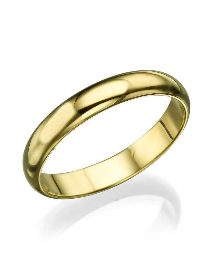 Yellow Gold Wedding Ring - 3.6mm Rounded Plain Wedding Bands - Custom Made