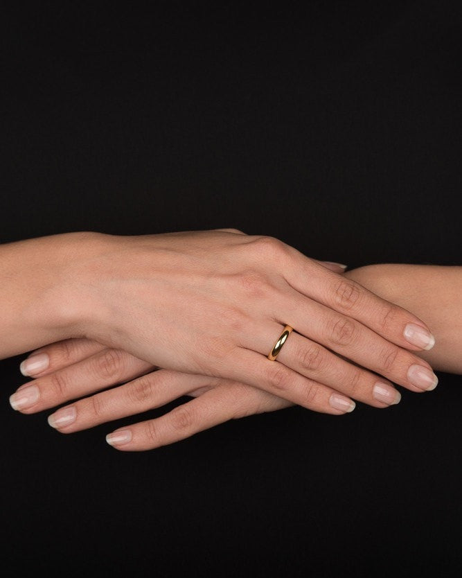 Yellow Gold Wedding Ring 3 6mm Rounded Design By Shiree Odiz Ny