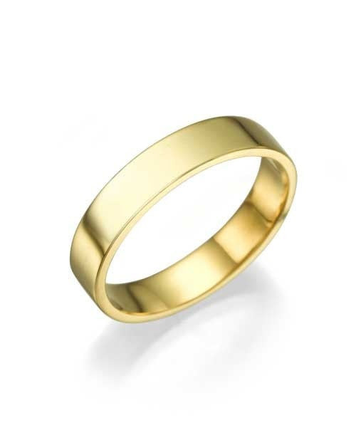 Yellow Gold Wedding Ring - 3.9mm Flat Design - Custom Made