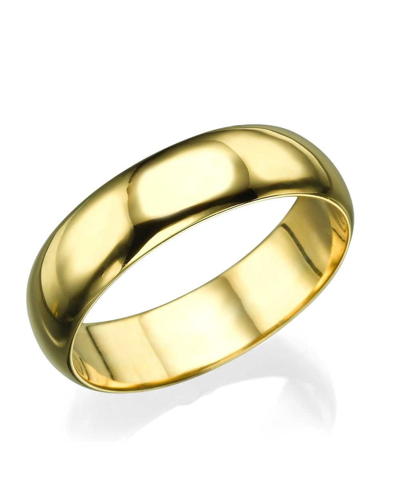 Yellow Gold Wedding Ring - 5.6mm Rounded Plain Band - Custom Made