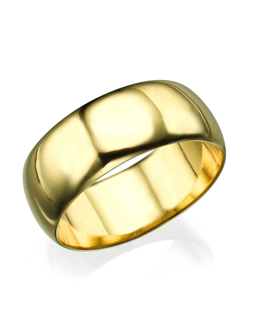 Yellow Gold Wedding Ring - 7.7mm Rounded Plain Band - Custom Made