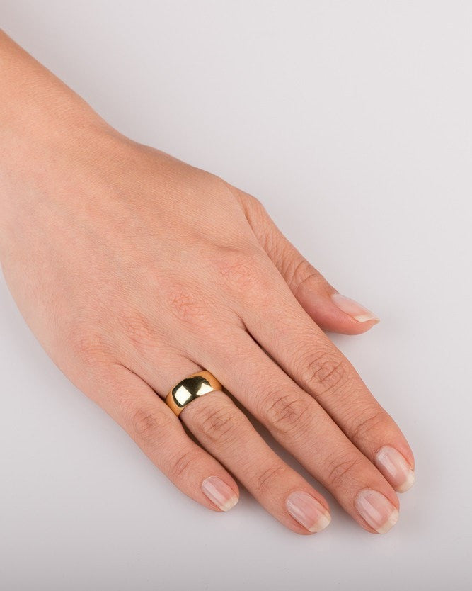 Yellow Gold Wedding Ring 7 7mm Rounded Design By Shiree Odiz Ny