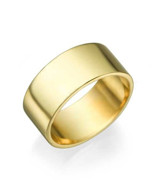 Yellow Gold Wedding Ring 8mm Flat Design by Shiree Odiz NY