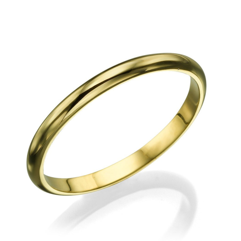 Yellow Gold Wedding Rings for Men - 2mm Rounded Plain Shiny Band - Custom Made
