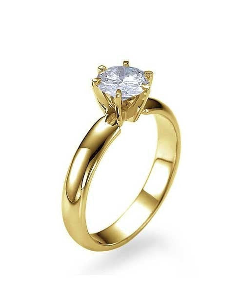 Engagement Rings Yellow Gold Wide Band 6 Prong Round Engagement Ring - 1ct Diamond