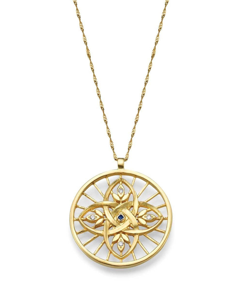 Insignia Yellow Gold Women's Designer Pendant - Blue Sapphire and Diamonds