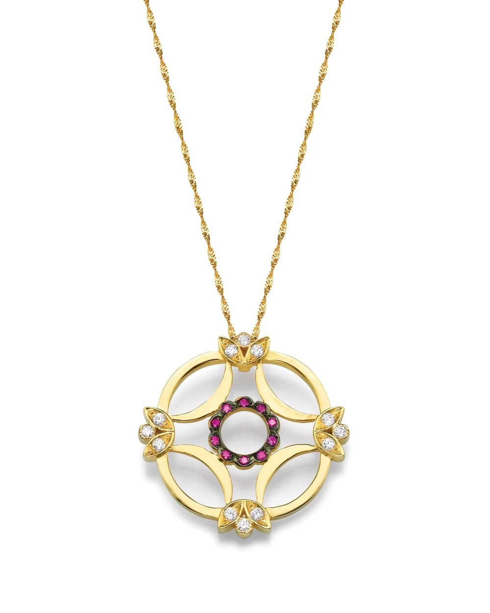 Insignia Yellow Gold Women's Designer Pendant - Red Ruby and Diamonds