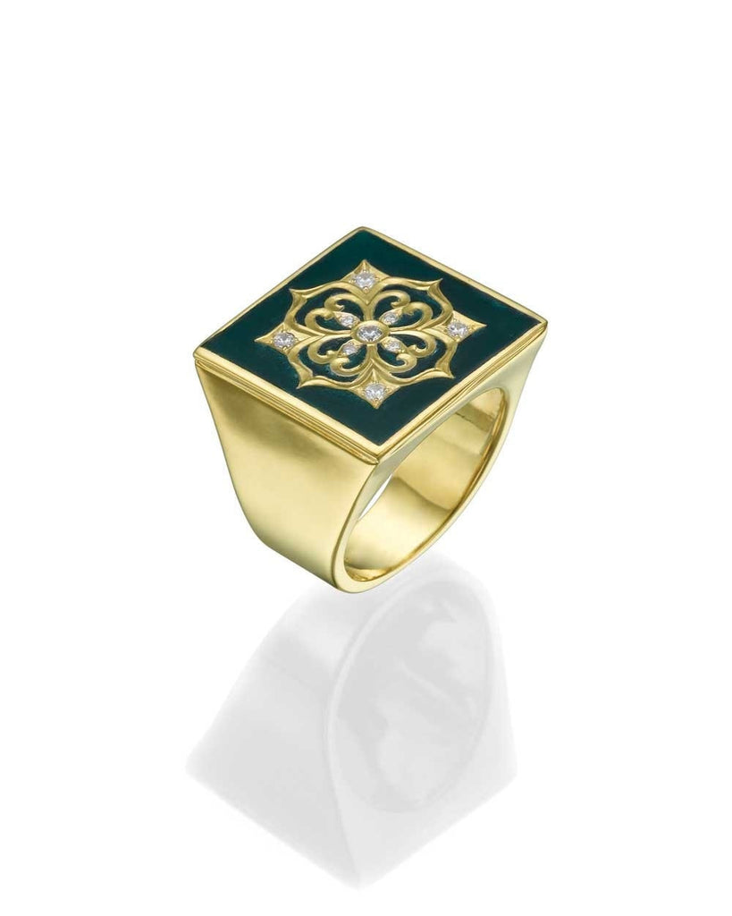 Insignia Yellow Gold Women's Signet Ring - Green Enamel and 0.12ct Diamonds