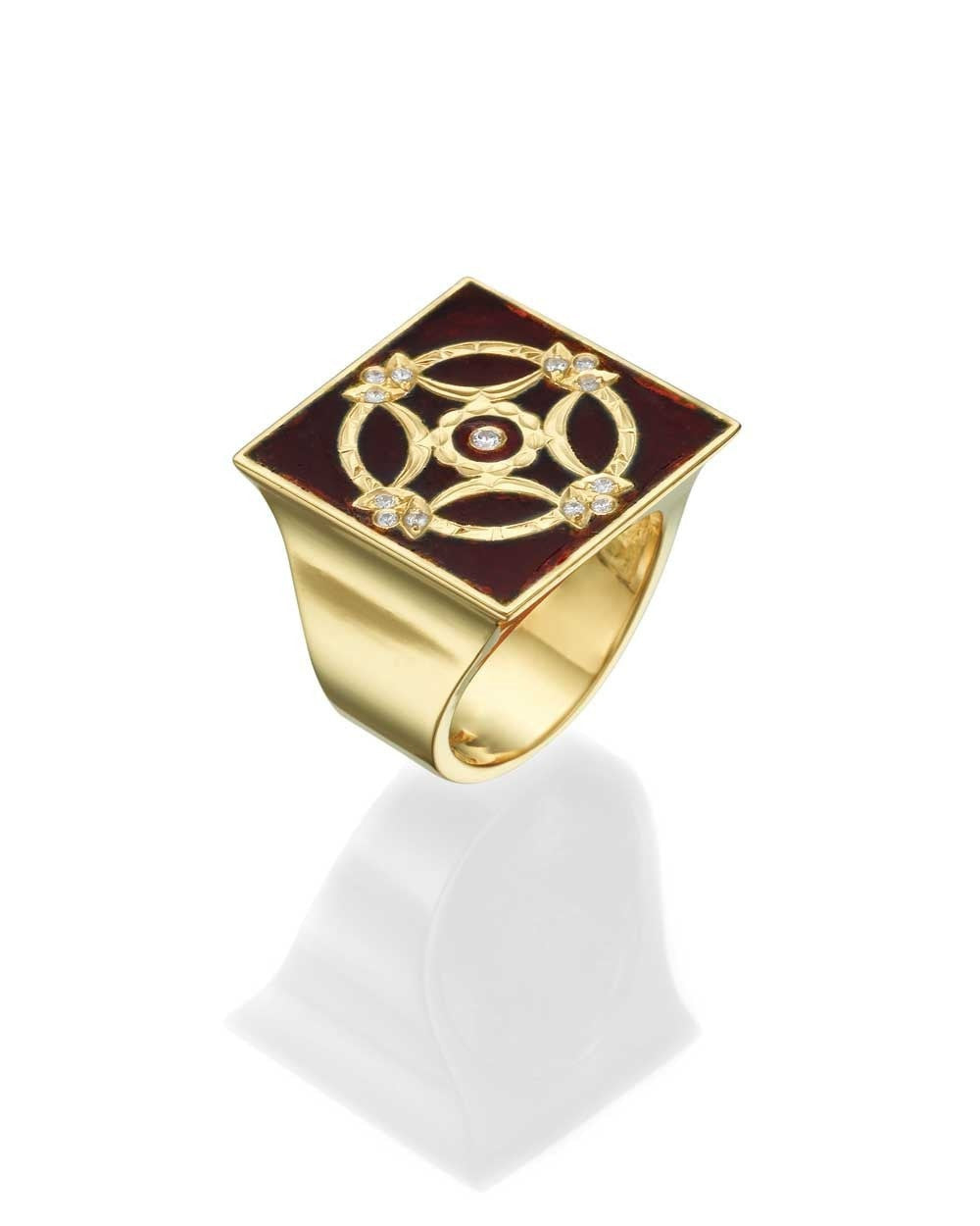 Insignia Yellow Gold Women's Signet Ring - Red Enamel and 0.12ct Diamonds