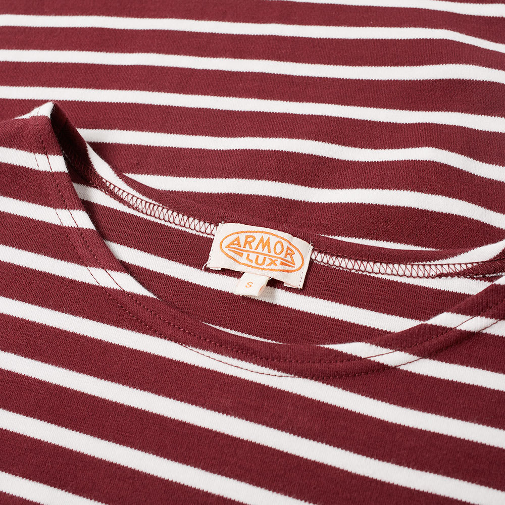 ID6389-Armor Lux Burgundy & White Hoop T-Shirt