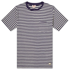 ID10090-Armor Lux Navy Cotton Linen Hoop T-Shirt