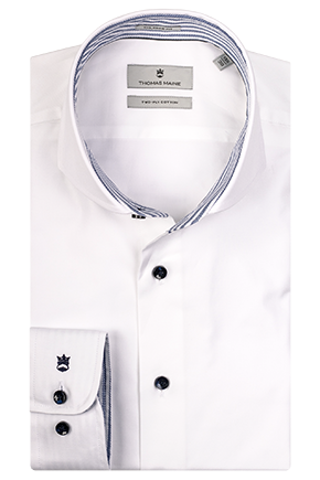 ID10244-Thomas Maine White Blue Button Shirt
