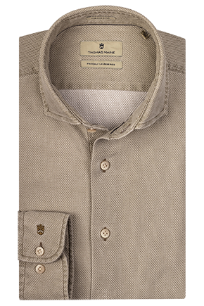 ID10232-Thomas Maine  Khaki Washed Waffle Shirt