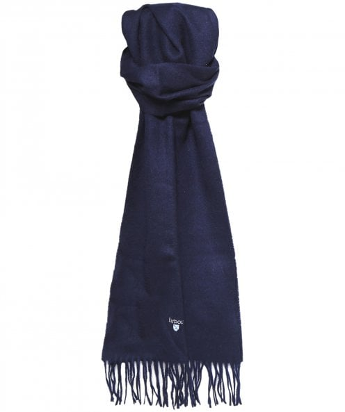ID8132-Barbour Navy Lambswool Scarf