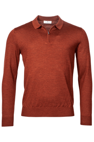 ID20313-Thomas Maine Rust Zip Polo