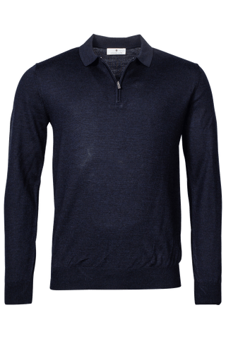 ID20314-Thomas Maine Navy Zip Polo