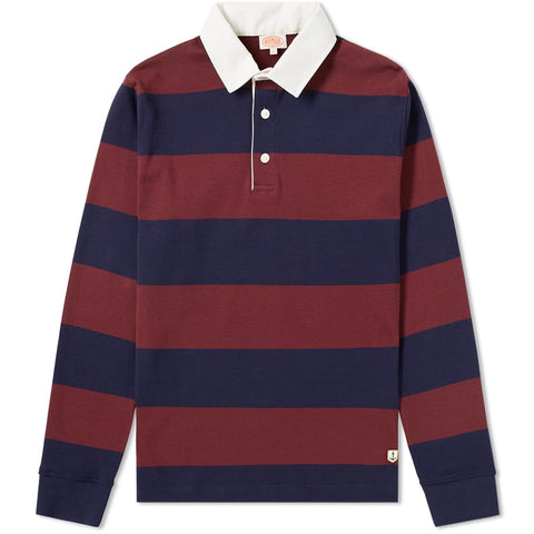 ID6394-Armor Lux Burgundy Navy Stripe Rugby Shirt