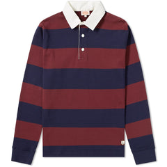 Armor Lux Burgandy Navy Stripe Rugby Shirt-6394