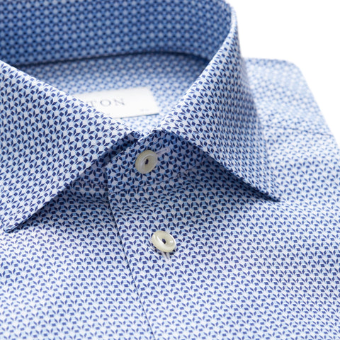 Eton Slim Blue Micro Geometric Shirt