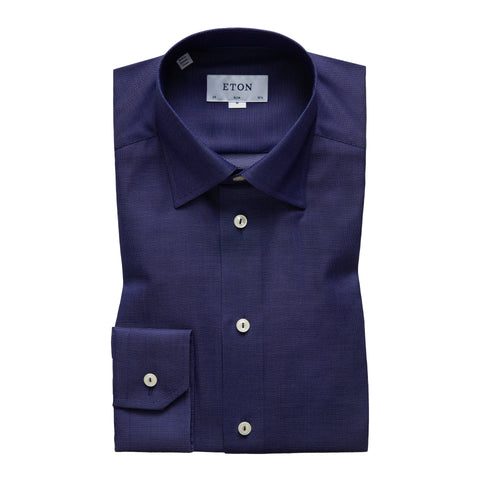 Eton Slim Navy Textured Shirt