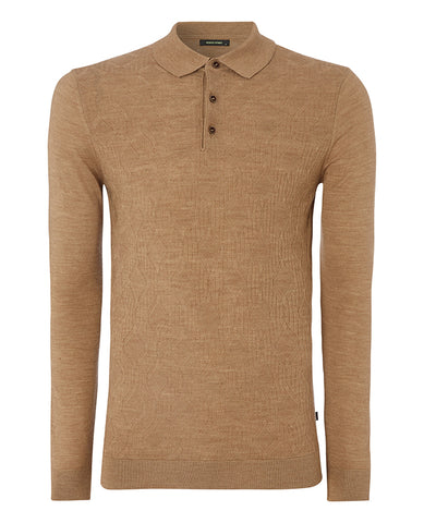 Remus Camel Knitted Polo 8222