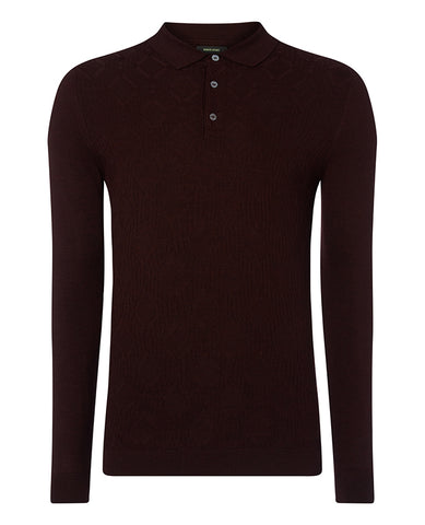 Remus Burgundy Knitted Polo 8221