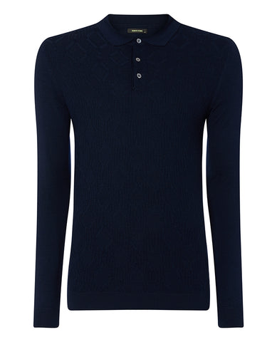 Remus Navy Knitted Polo 8220
