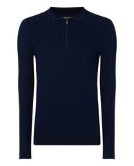 ID8225-Remus Navy Zip Polo Knit