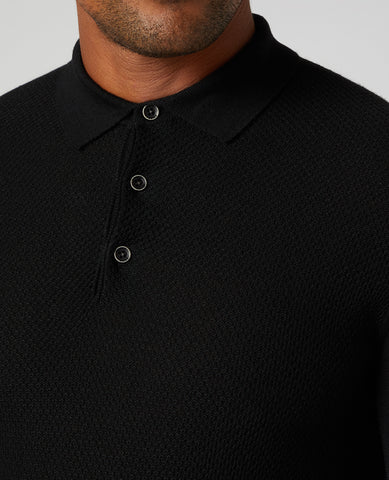 ID20252-Remus Black Long Sleeve Polo