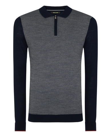 ID20259-Remus Navy Zip Polo