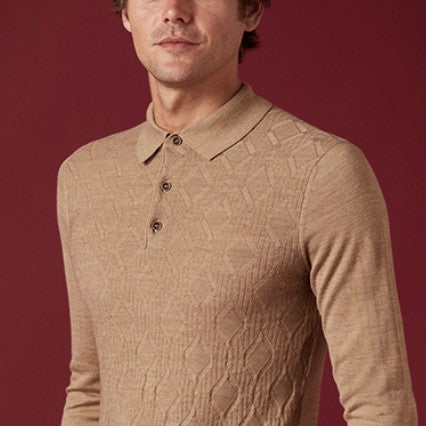 ID8222-Remus Camel Knitted Polo