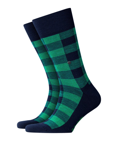 Burlington Blue Check Sock 8546