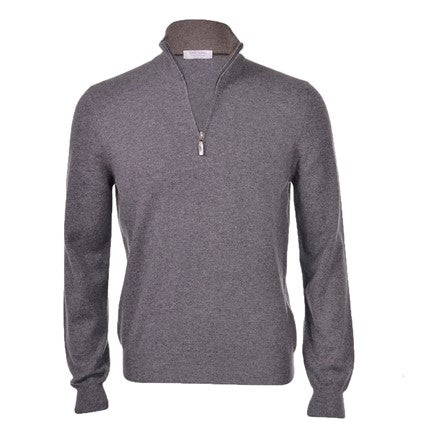 Gran Sasso Grey Zip Wool Cash 8318