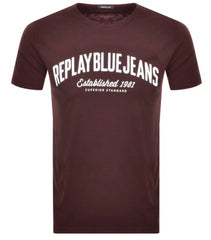 ID8541-Replay Brown Logo T-Shirt