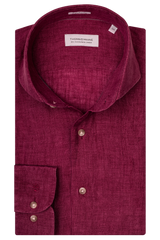 Thomas Maine Wine Linen Shirt 7342