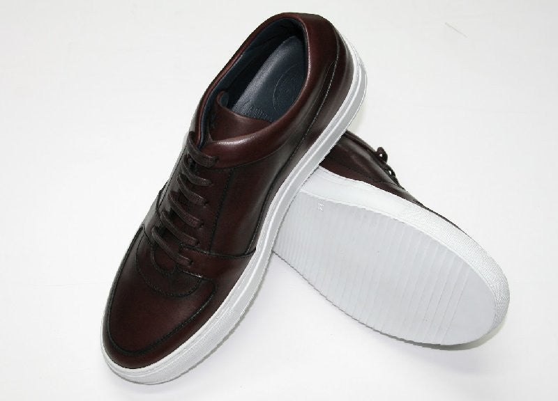 Andrea Zori Burgundy Leather Trainer