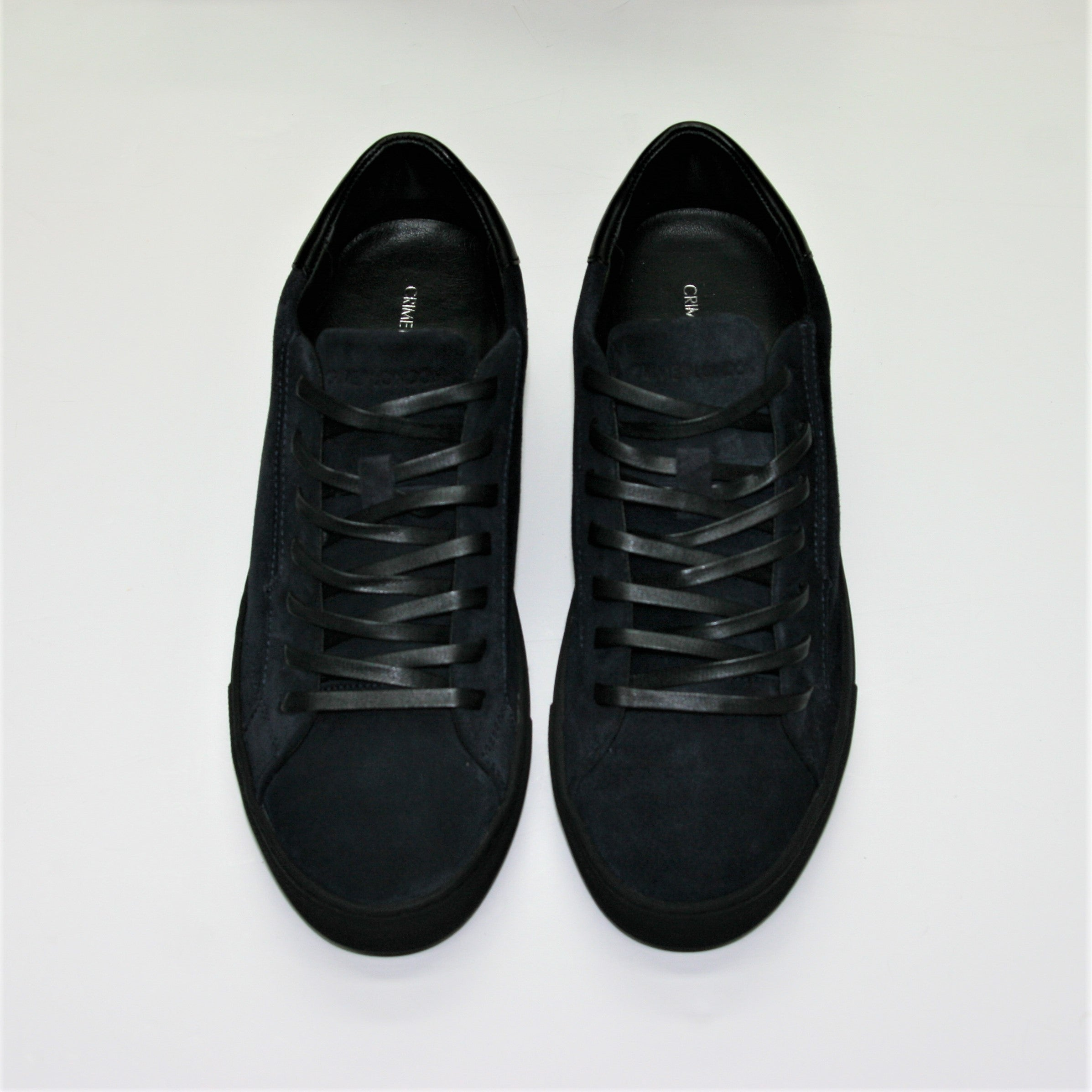 Crime London Navy Suede Trainer