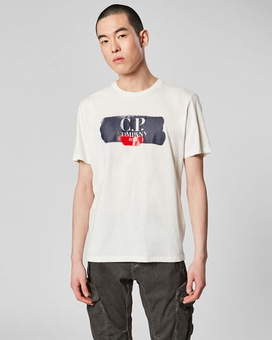ID10012-CP Company White Spray Logo T-Shirt