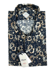 ID10191-Xacus Navy Flower Short Sleeve