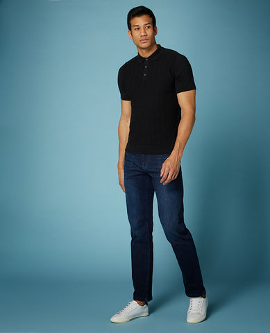 ID10291-Remus Black Knitted Polo