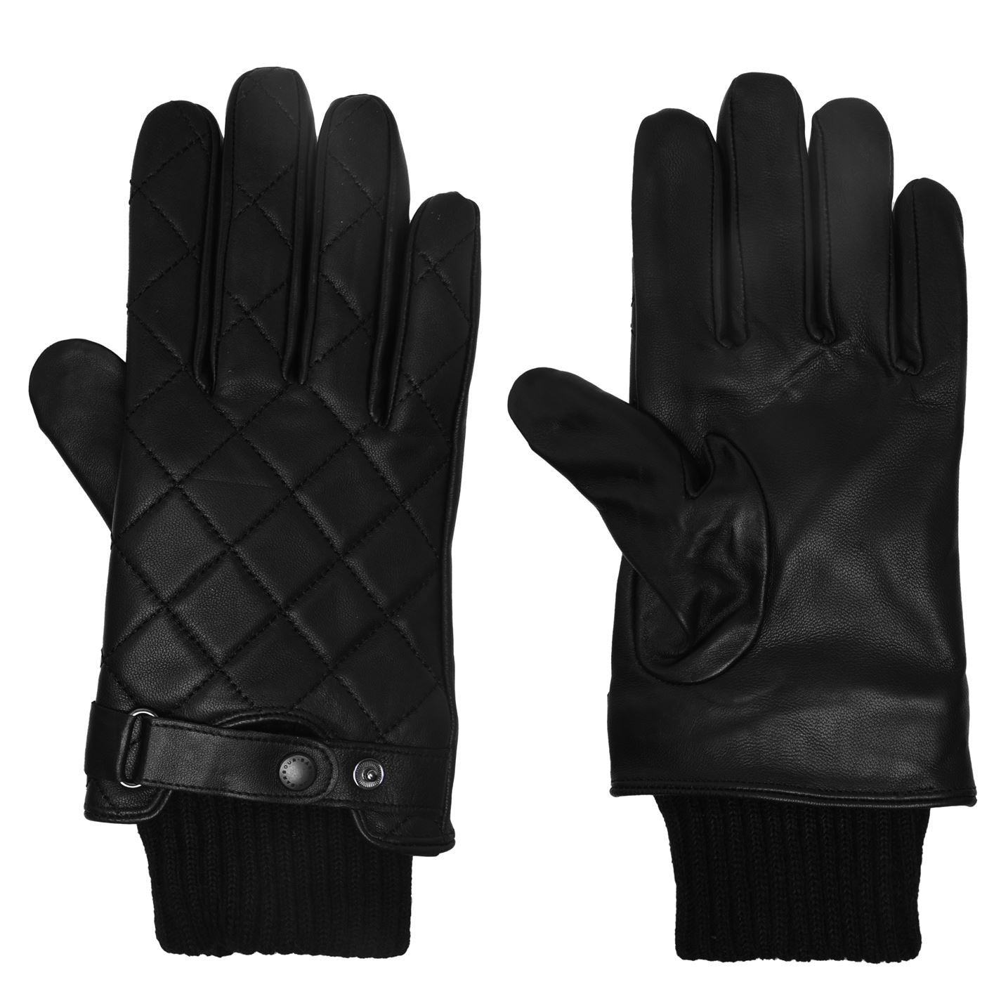 ID8129-Barbour Black Quilted Leather Gloves