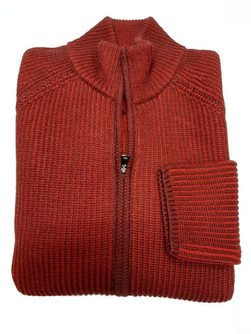 ID8503-V Neck  Red Zip Cardigan