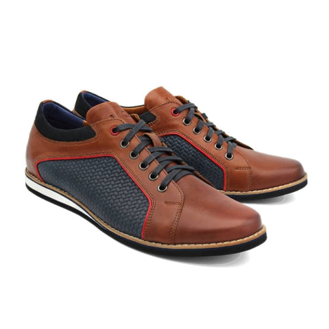 Lacuzzo Brown Navy Lattice 8640