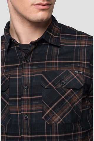 ID20399-Replay Brown Check Shirt