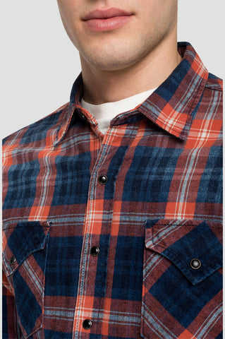 ID20402-Replay Blue/Orange 2 Pocket Shirt