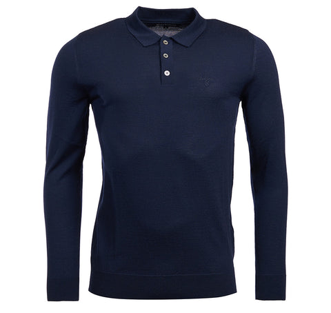Barbour Navy Long Sleeve Merino Polo 8059